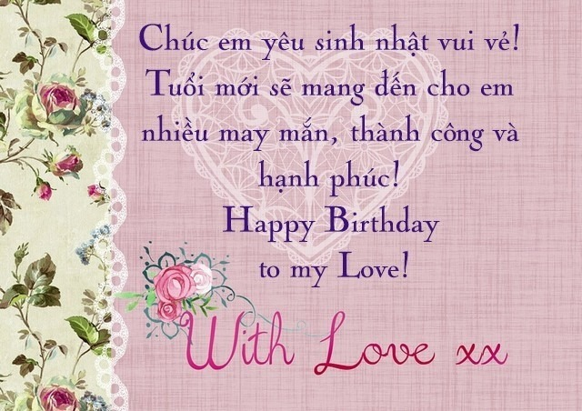 Lời chúc sinh nhật ngọt ngào dành cho người yêu