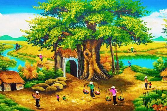 Tranh sơn dầu phong cảnh làng quê Việt Namm