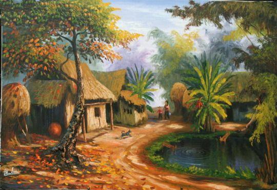 Tranh sơn dầu phong cảnh làng quê đẹp nhất