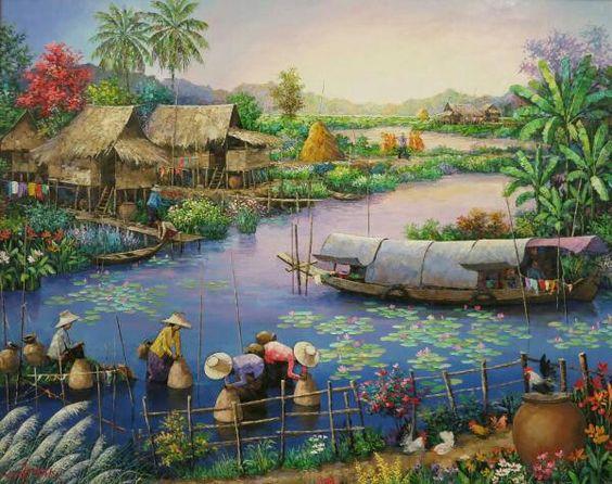 Tranh sơn dầu phong cảnh đồng quê đẹp